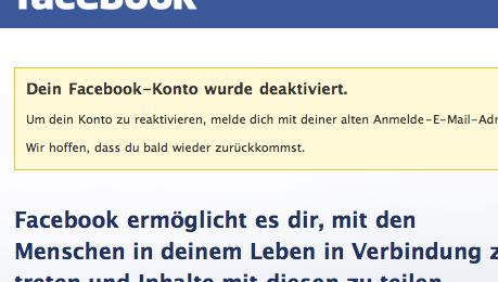 Facebook Konto deaktiviert